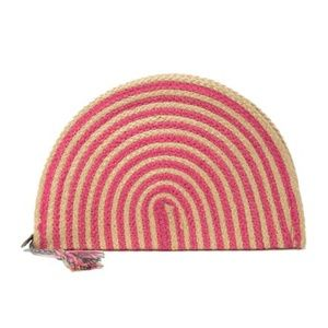 NWT! Coral Striped Half Moon Woven Straw Clutch